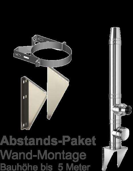 DW Edelstahl-Kamin  Abstandspaket - Bauhöhe bis 5m; WA 50mm - Ø150mm