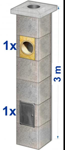 Ø18cm Objekt-Kamin 3m Grundbausatz mit Formteilen Auswahl